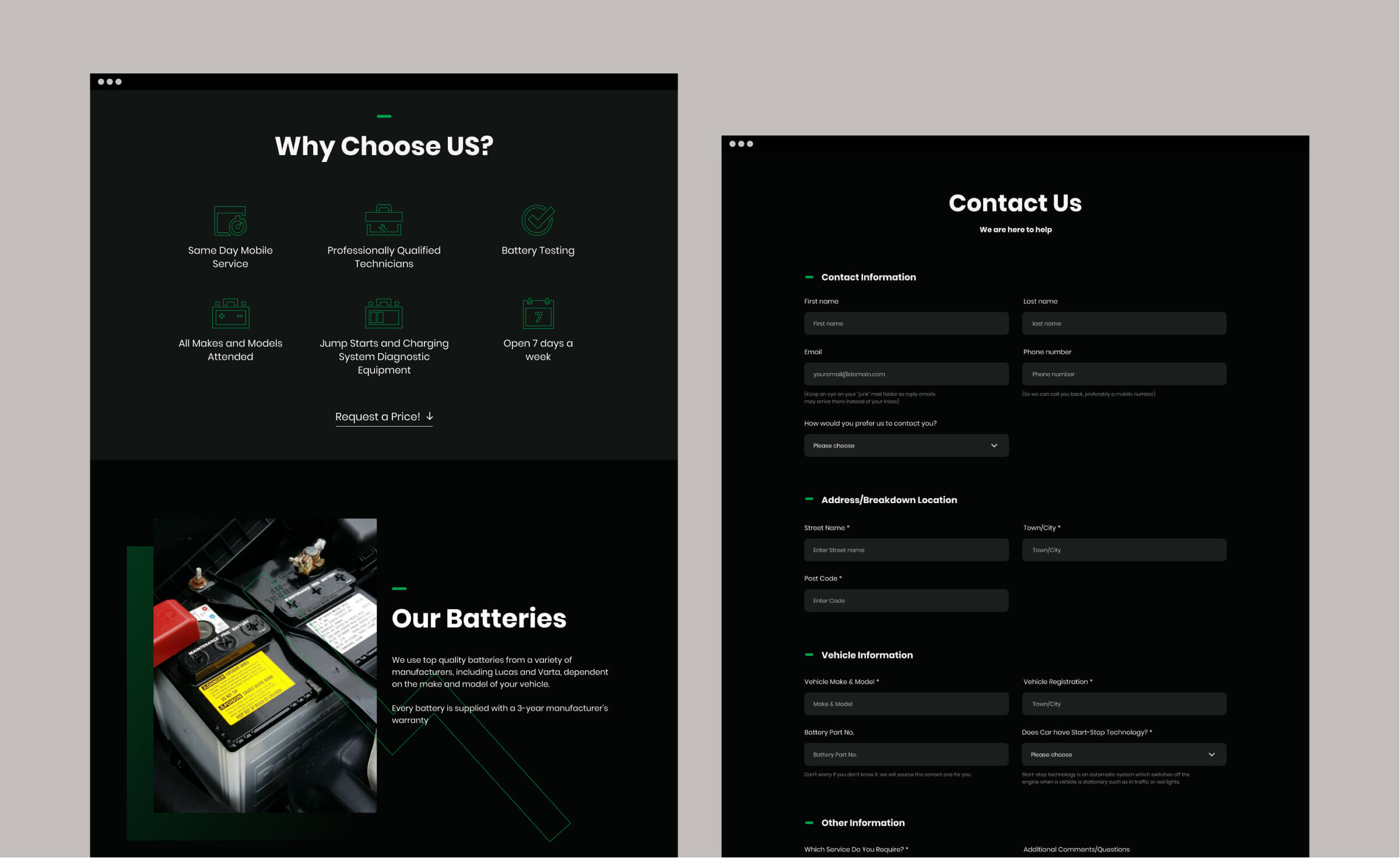 Page Of A Car Battery Website