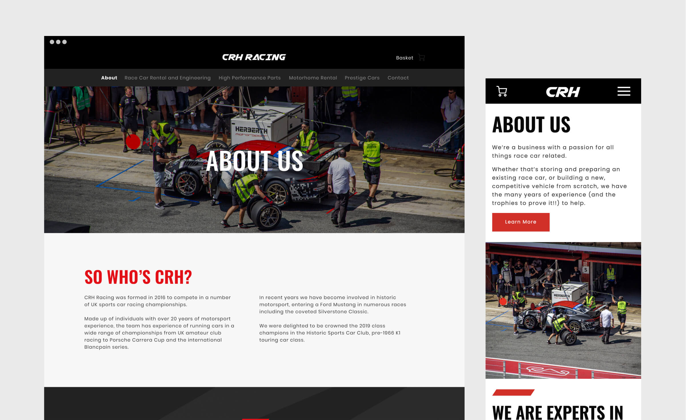 Page Of A Race Car Website